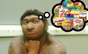 Caveman eating junk food